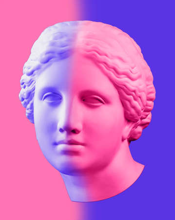 Modern conceptual art poster with blue pink colorful antique Venus bust. Contemporary art collage.