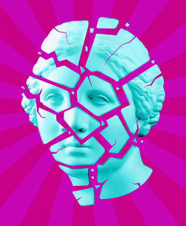 Modern conceptual art poster with blue purple broken antique Venus bust. Contemporary art collage.