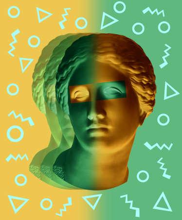 Affiche d'art conceptuel moderne avec le buste antique vert jaune de Vénus de Milo. Collage d'art contemporain. Banque d'images