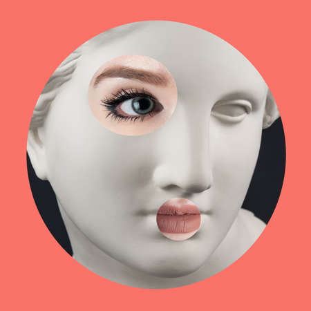 Contemporary art poster with ancient statue of Venus head and details of a living womans face.