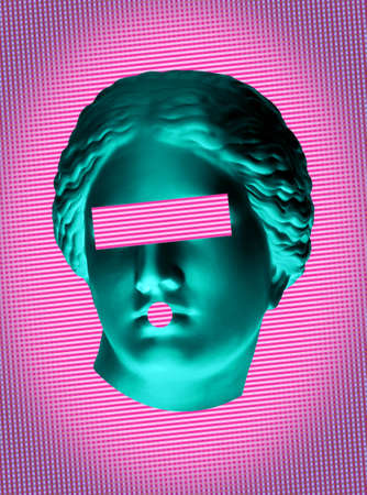 Modern conceptual art poster with green pink colorful antique Venus bust. Contemporary art collage. Фото со стока