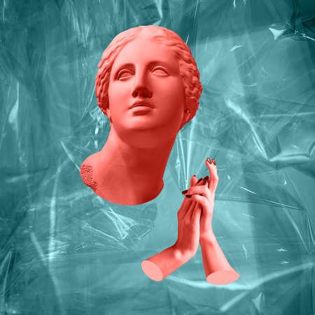 Affiche d'art conceptuel moderne avec l'ancienne statue du buste de Vénus. Collage d'art contemporain. Banque d'images