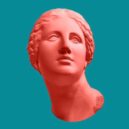 Modern conceptual art poster with ancient statue of bust of Venus. Collage of contemporary art. Stockfoto