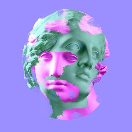 Cartel de arte conceptual moderno con antigua estatua del busto de Venus. Collage de arte contemporáneo. Foto de archivo