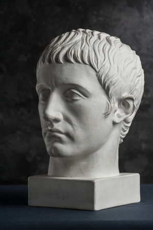 Gypsum copy of ancient statue Germanicus head on dark textured background. Plaster sculpture man face.