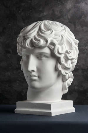 Gypsum copy of ancient statue Antinous head on dark textured background. Plaster sculpture man face.