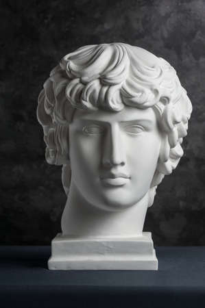 Gypsum copy of ancient statue Antinous head on dark textured background. Plaster sculpture man face. Banque d'images - 128908818