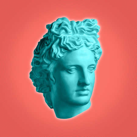Modern conceptual art poster with ancient statue of bust of Apollo. Collage of contemporary art. Reklamní fotografie