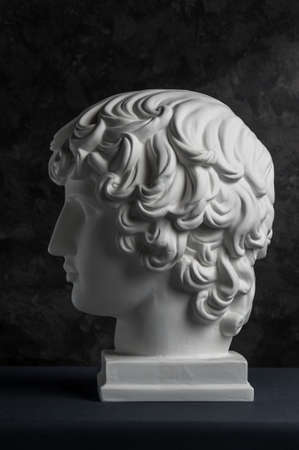 Gypsum copy of ancient statue Antinous head on dark textured background. Plaster sculpture man face. Banque d'images - 128908844