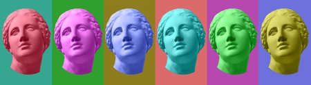 Six colorful gypsum copy of ancient statue Venus head isolated on a multicolors background. Zin art. Banque d'images - 129185301