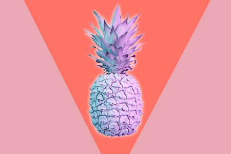 Contemporary art collage with pineapple. Exotic tropical fruit. Pop art. Perfect for invitations, greeting cards, posters. Stockfoto