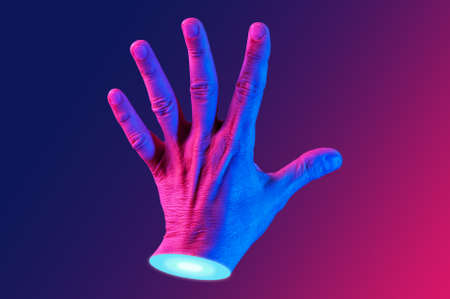 Hand in a pop art collage style in neon bold colors. Modern psychedelic creative element with human palm for posters, banners, wallpaper. Copy space for text. Magazine style design. Zine culture.