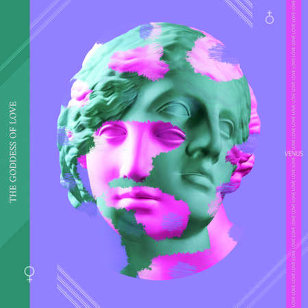Combination of pink and green beautiful young female faces on red background. Antique bust of Venus. The goddess of love. Venus symbol. The symbol for a female organism or woman.