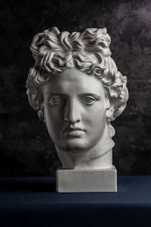 White gypsum copy of ancient statue of Apollo God of Sun head for artists on a dark textured background. Renaissance epoch. Plaster sculpture of man face.