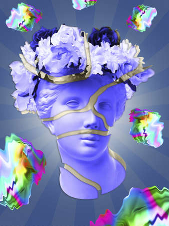 Beautiful young female pink face and colorful flowers on textured background . Plaster antique bust of Venus in a floral wreath. Beauty spring and summer model girl with fresh bouquet.