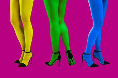 Sexy woman legs in neon tights and shoes with high heels over acid color background. Webpunk, vaporwave and surreal art. Funny modern art collage in magazine style, pop art collection, zine culture.