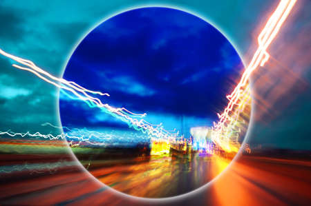 Modern art collage with evening expressway blurred view. Lights night road with motion blur effect in bright neon colors. Contemporary art poster in minimal and surreal style. Template background.