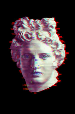 Collage with plaster antique sculpture of human face in a pop art style. Creative concept image with ancient statue head with glitch effect. Zine culture. Contemporary art style poster. Apollo bust.