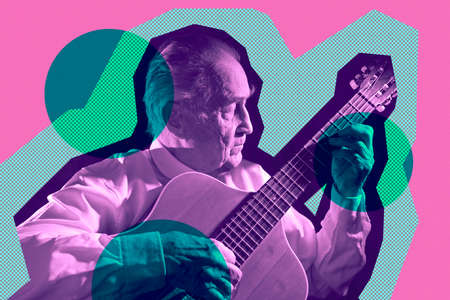 Cool fashion elderly man strum an acoustic guitar. Rock, classic, jazz concert collage poster. Contemporary art concept in pop art style. Template for design of music theme. Old school musicant.