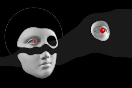 Antique sculpture of woman face surreal collage in pop art style. Modern image with cut details of statue head. Red eyes. Dark concept. Zine culture. Contemporary art poster. Funky retro minimalism.
