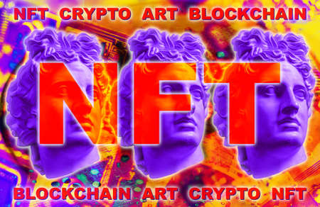 NFT Non fungible token. Crypto art concept. Technology selling unique collectibles, games characters, blockchain assets and digital artwork. Future of art market. Cryptocurrencies and e-commerce. Reklamní fotografie