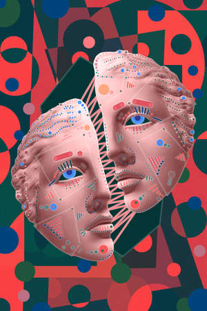 Collage with sculpture of human face in a pop art style. Modern creative concept image with ancient statue head. Zine culture. Contemporary art poster. Funky punk minimalism. Crypto art design.