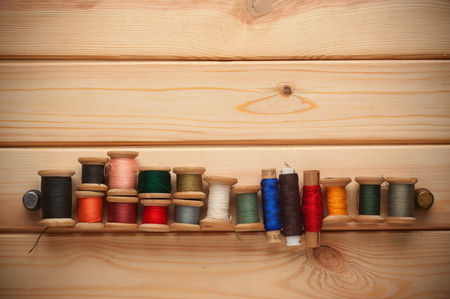 sewing kit: Vintage with Sewing kit. bobbins with thread