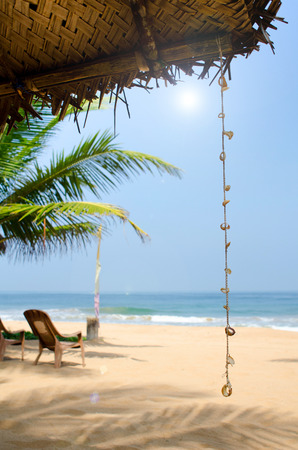 srilanka: Untouched tropical beach with palms and fishing boats in Sri-Lanka Stock Photo