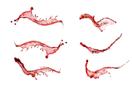 Wine splash set isolated on white background close up