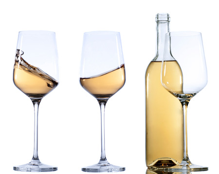 muscadet: Set of glass with white  wine on white background.