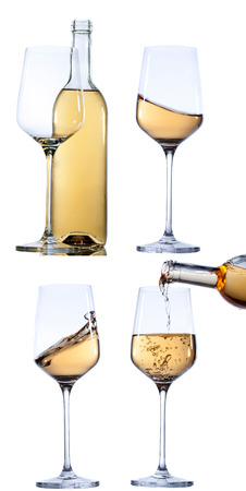 muscadet: Set of glass with white  wine on white background. Empty or splashing. Stock Photo