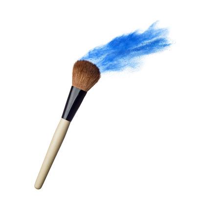 make up brush: Make up brush with powder splash isolated on white Stock Photo