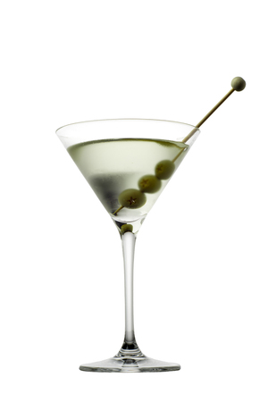lounge bar: Martini glass with olive isolated  on white background