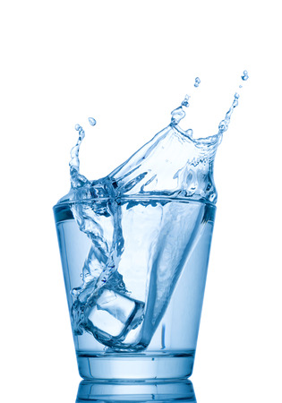 water drip: water splash in glasses isolated on white background