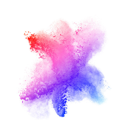Colored powder isolated on black background close up