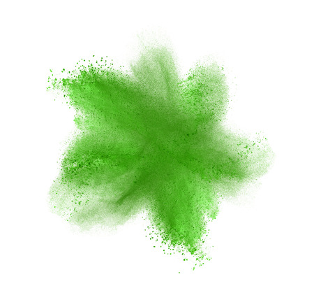 explode: Green powder explosion isolated on white background