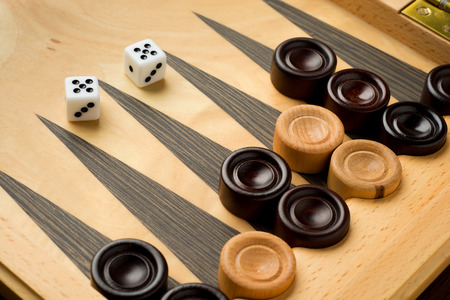 backgammon: Backgammon set with dice on wooden background