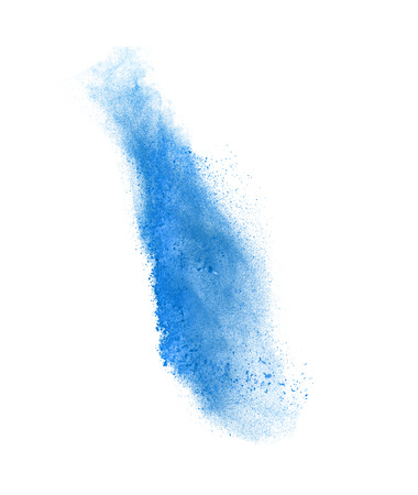 Launched colorful powder, isolated on white  background Standard-Bild