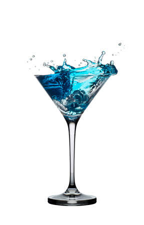 blue cocktail with splashes isolated on white background 写真素材