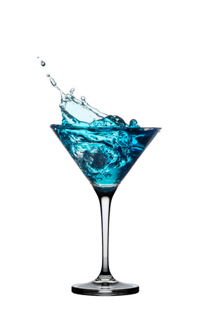 Blue cocktail with splash isolated on white background.