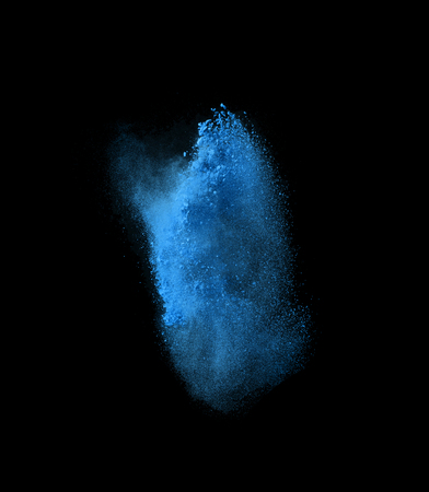 freeze: Freeze motion of blue powder exploding, isolated on black, dark background. Abstract design of white dust cloud. Particles explosion screen saver, wallpaper with copy space. Planet creation concept