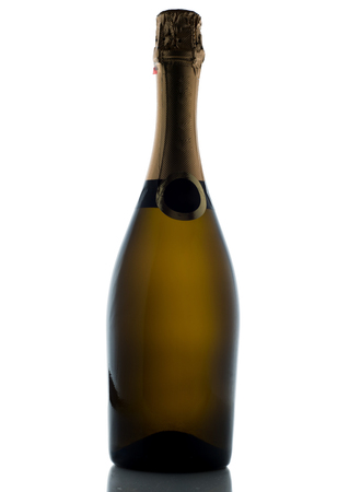 gold capped: Champagne bottle isolated on a white background.