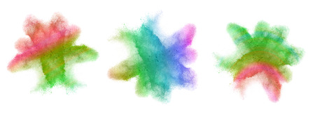 colored powder: Gradient colored powder splash isolated on white background
