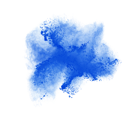 freeze: Freeze motion of blue powder exploding, isolated on white. Abstract design.