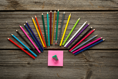 pensil: pensil, pen and other  school supplies on wooden table