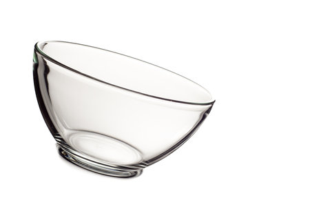 plexiglas: Empty glass bowl isolated on white background. Stock Photo