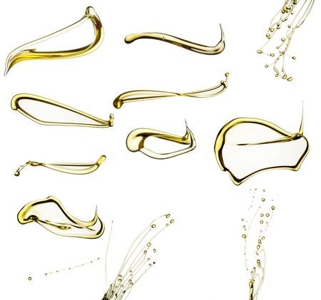 huile: Projection d'huile collection isol� sur fond blanc. Banque d'images