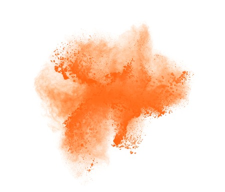 high damage: Freeze motion of orange powder exploding, isolated on white. Abstract design.