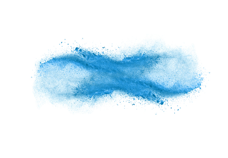 Freeze motion of blue dust explosion isolated on white background Standard-Bild