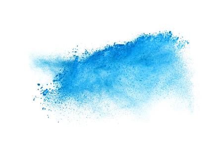 Freeze motie van blauwe stofexplosie geïsoleerd op witte achtergrond Stockfoto
